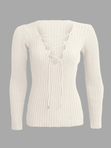 Yoins Beige Plunge Lace-up Knit Sweater with Long Sleeves