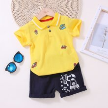 Kleinkind Jungen Polo Shirt mit Buchstaben & Karikatur Grafik & Shorts