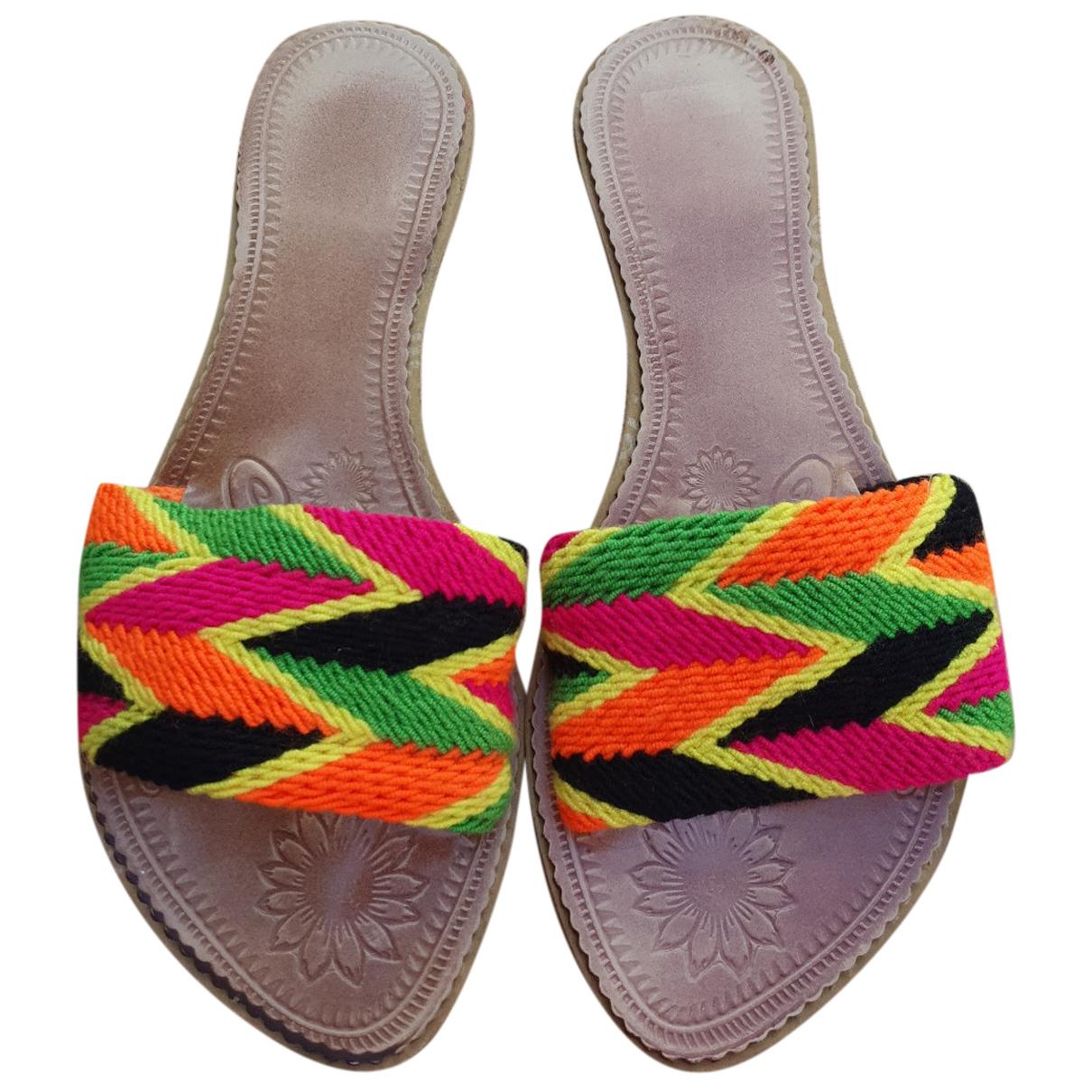 - Sandales   pour femme en toile - multicolore