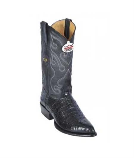 Los Altos Black AllOver Alligator Belly J Toe Print Cowboy Boots