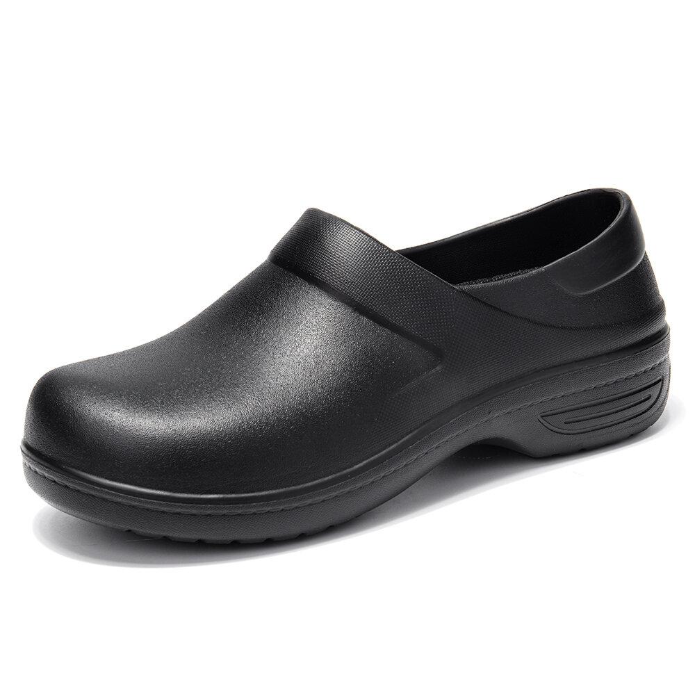 Women Solid Color Waterproof Oil-proof Casual Slip On Work Sandals