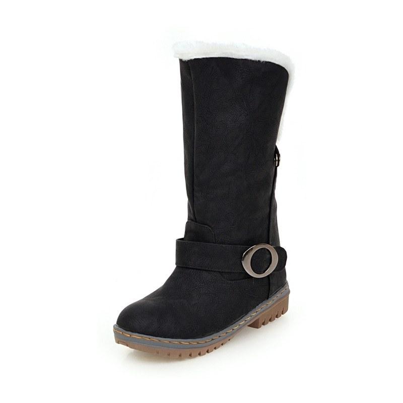 Ericdress Slip-On Round Toe Color Block Platform Women's Boots
