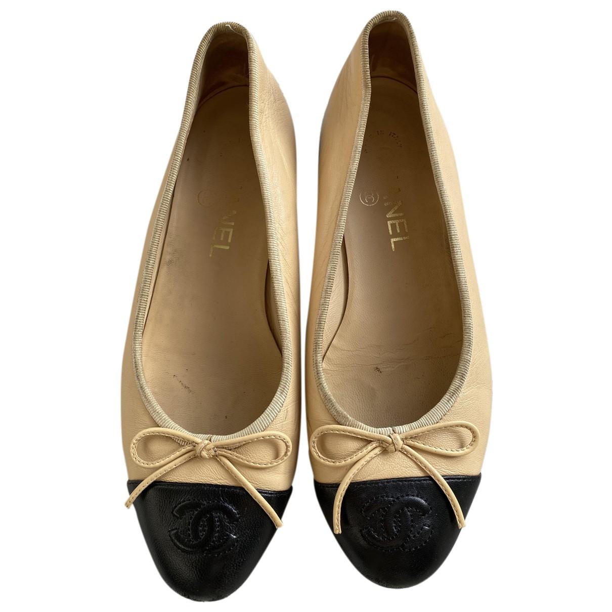 Chanel - Ballerines   pour femme en cuir - beige