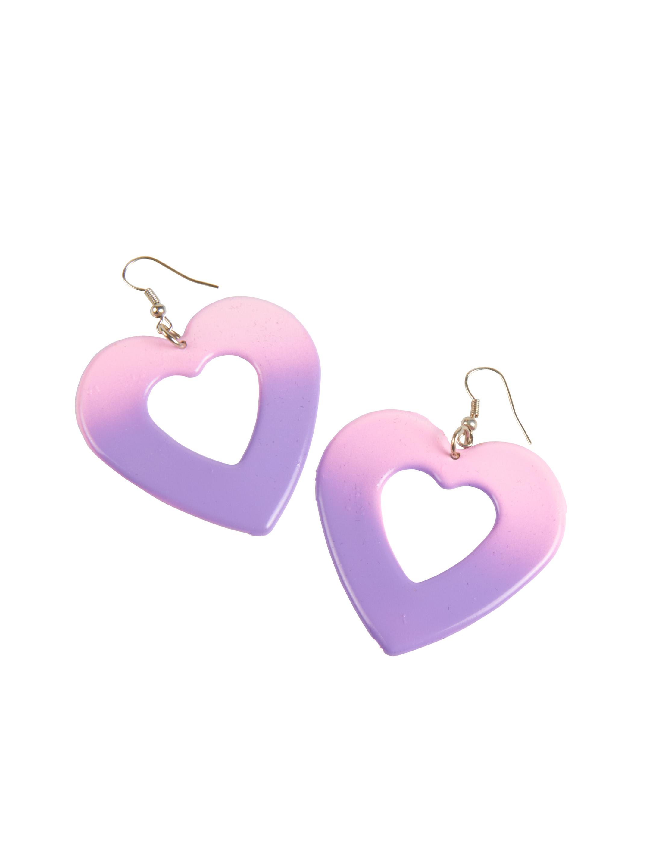 Kostuemzubehor Ohrringe Herz rosa