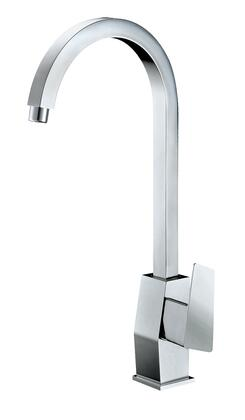 AB3470-PC Gooseneck Bathroom Faucet  with Bass  Valve  UPC Certified  Single Lever Control  Single Hole Deck Mount Installation and 5 Year Warranty