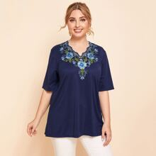Plus Floral Embroidery V-neck Longline Tee