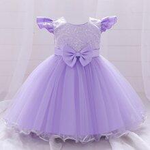 Toddler Girls Contrast Sequin Bow Front Tutu Gown Dress