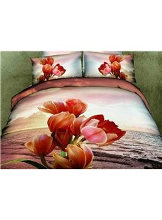 3D Tulips and Seascape Printed Cotton 4-Piece Bedding Sets/Duvet Covers