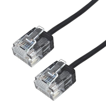 We Remain Open Cat6 UTP Micro-Thin Molded Patch Cable - 32AWG - Riser CMR - Black