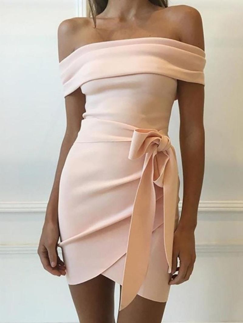 Ericdress Bodycon Off Shoulder Lace-Up Asymmetric Plain Dress