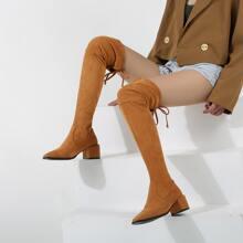 Wildleder Stiefel mit quadratischer Zehenpartie