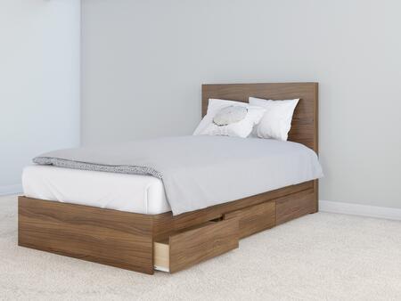 402017 Nexera 2 Piece Twin Size Bed Set with Storage Platform Bed + Headboard  in Walnut