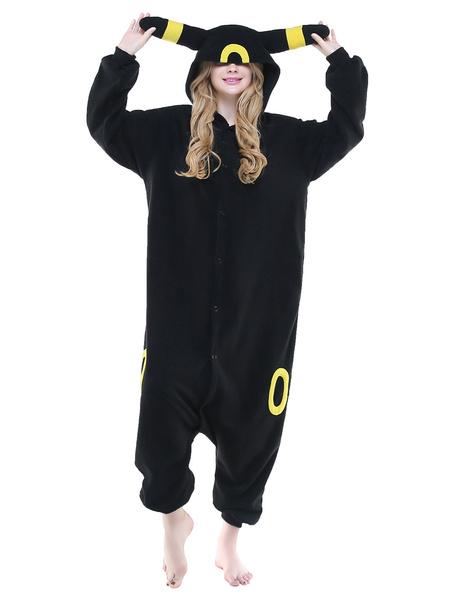 Milanoo Kigurumi Pajamas Black Umbreon Onesie Adults Unisex Flannel Animal Onesie Winter Sleepwear Costume Halloween
