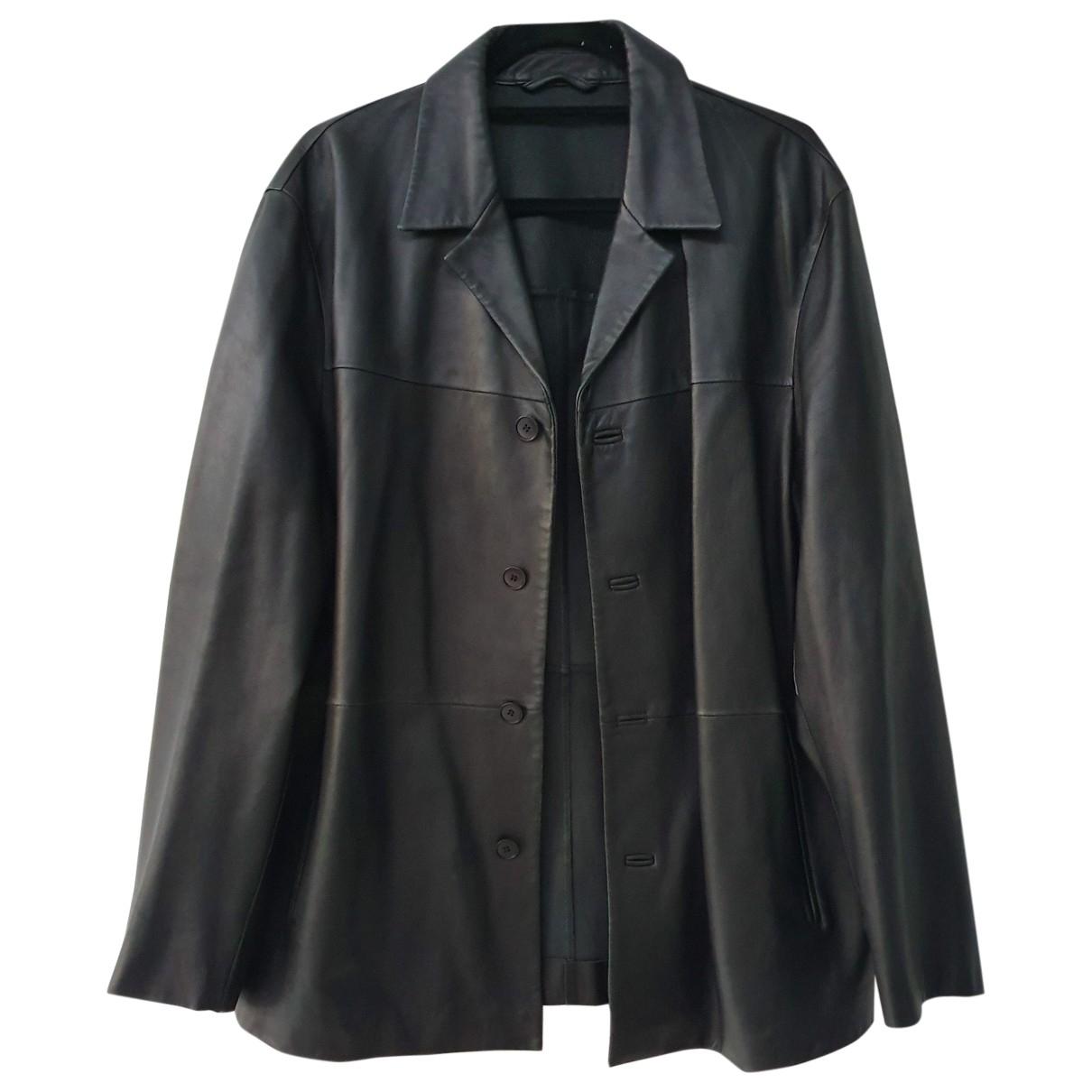 Boss \N Black Leather jacket  for Men XL International