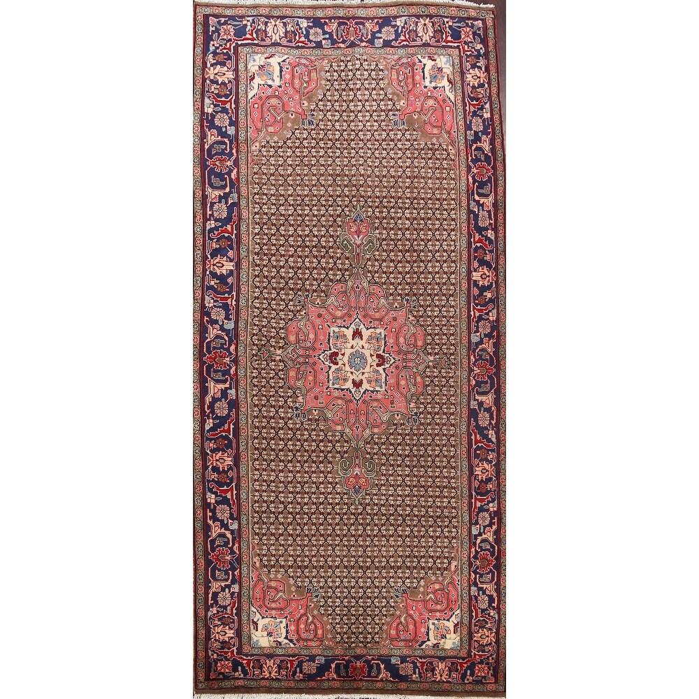 Brown Geometric Koliaei Persian Area Rug Wool Handmade Carpet - 5'2