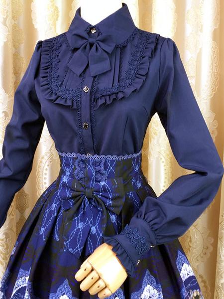 Milanoo Sweet Lolita Blouse Red Long Sleeve Turndown Collar Bow Ruffled Winter Lolita Shirt