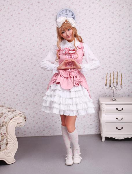 Milanoo Dulce Rosa Blanco Algodon Lolita Vestido Encaje Capas Volantes Lazos
