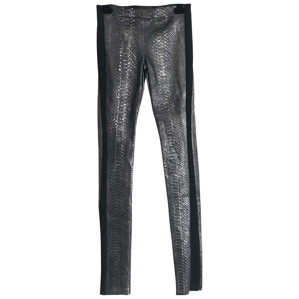 Haider Ackermann \N Anthracite Python Trousers for Women 34 FR