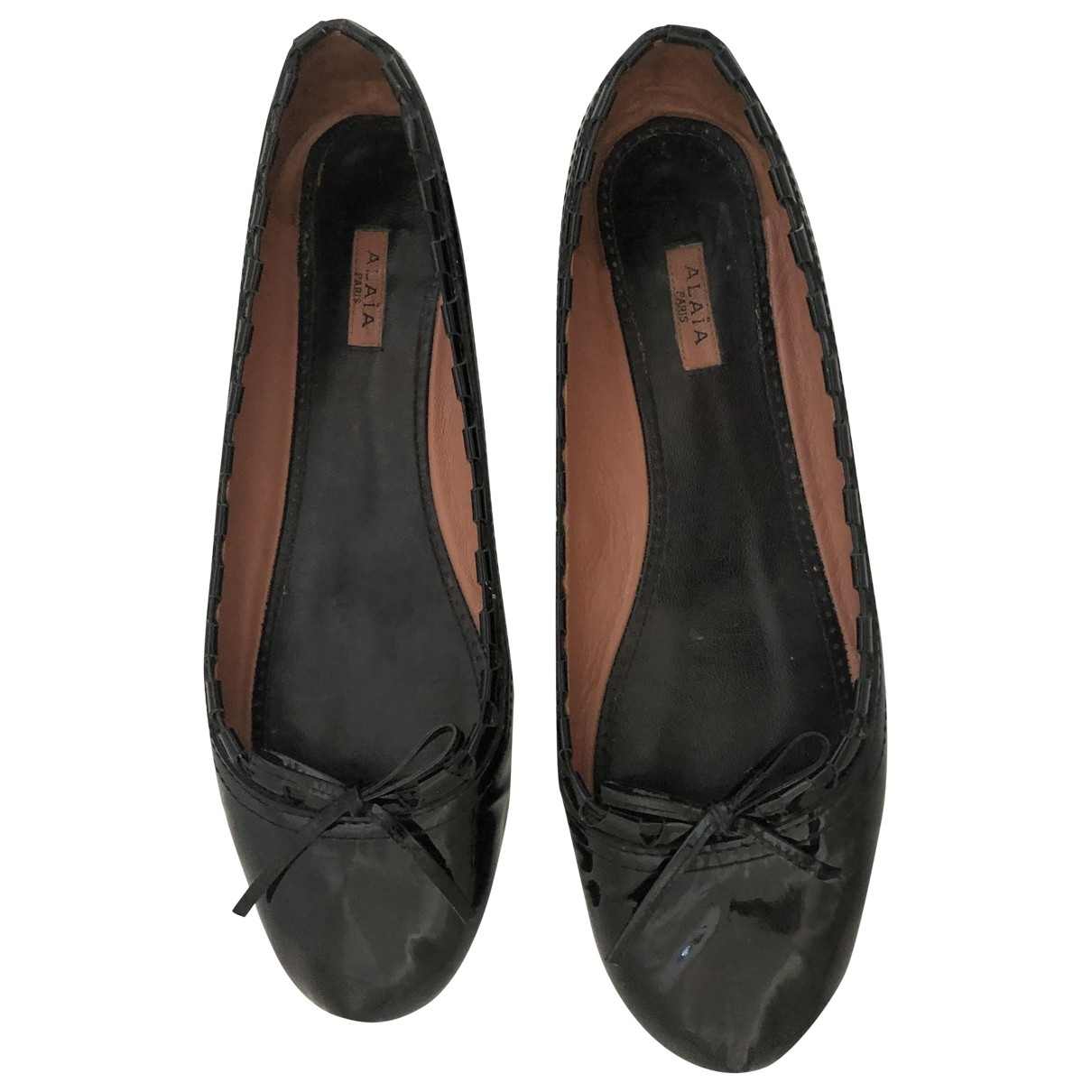 Alaia \N Ballerinas in  Schwarz Lackleder
