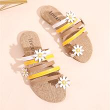 Sandalen mit Blumen Applikation