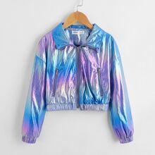 Girls Drop Shoulder Zip Up Metallic Ombre Jacket
