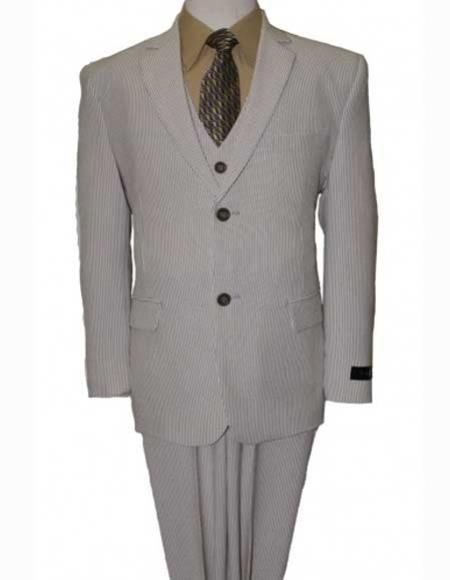 Boy's Tan 3Piece Notch Poly Rayon Elbow Patches Vested Seersucker Suit