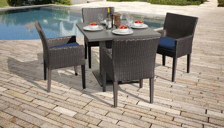 Barbados Collection BARBADOS-SQUARE-KIT-4DCC-NAVY Patio Dining Set with 1 Table   4 Arm Chairs - Wheat and Navy