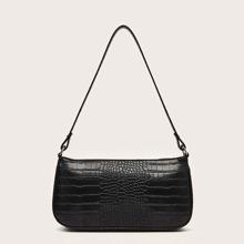 Croc Embossed Baguette Bag