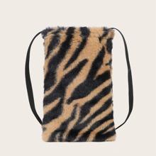 Bolso bandolero mullido con estampado de tigre