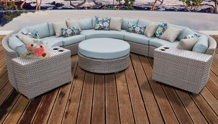 Florence Collection FLORENCE-08b-SPA 8-Piece Patio Set 08b with 2 Armless Chair   2 Cup Table   1 Round Coffee Table   3 Curved Armless Chair - Grey