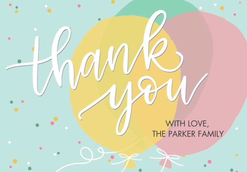 Thank You Cards 3.5x5 Folded Notecard, Card & Stationery -Thank You Balloons by Tumbalina