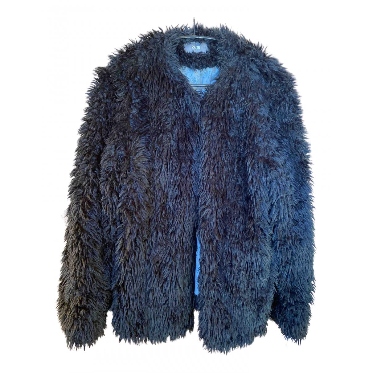 Zadig & Voltaire - Manteau   pour femme en fourrure synthetique - noir