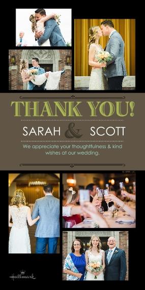 Wedding Thank You 4x8 Flat Card Set, 85lb, Card & Stationery -Modern Lettering Thank You