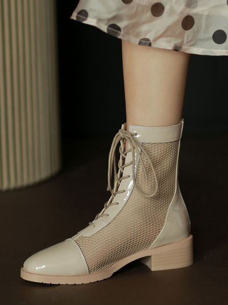 Milanoo Apricot Summer Boots Women Round Toe Lace Up Ankle Boots
