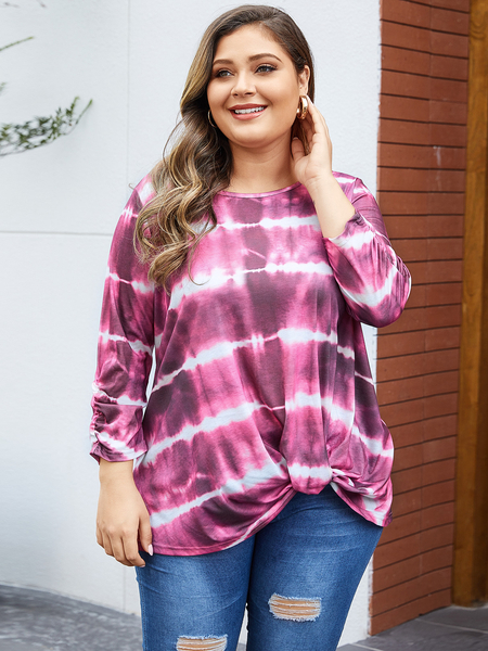 YOINS Plus Size Multicolor Twisted Round Neck Tee