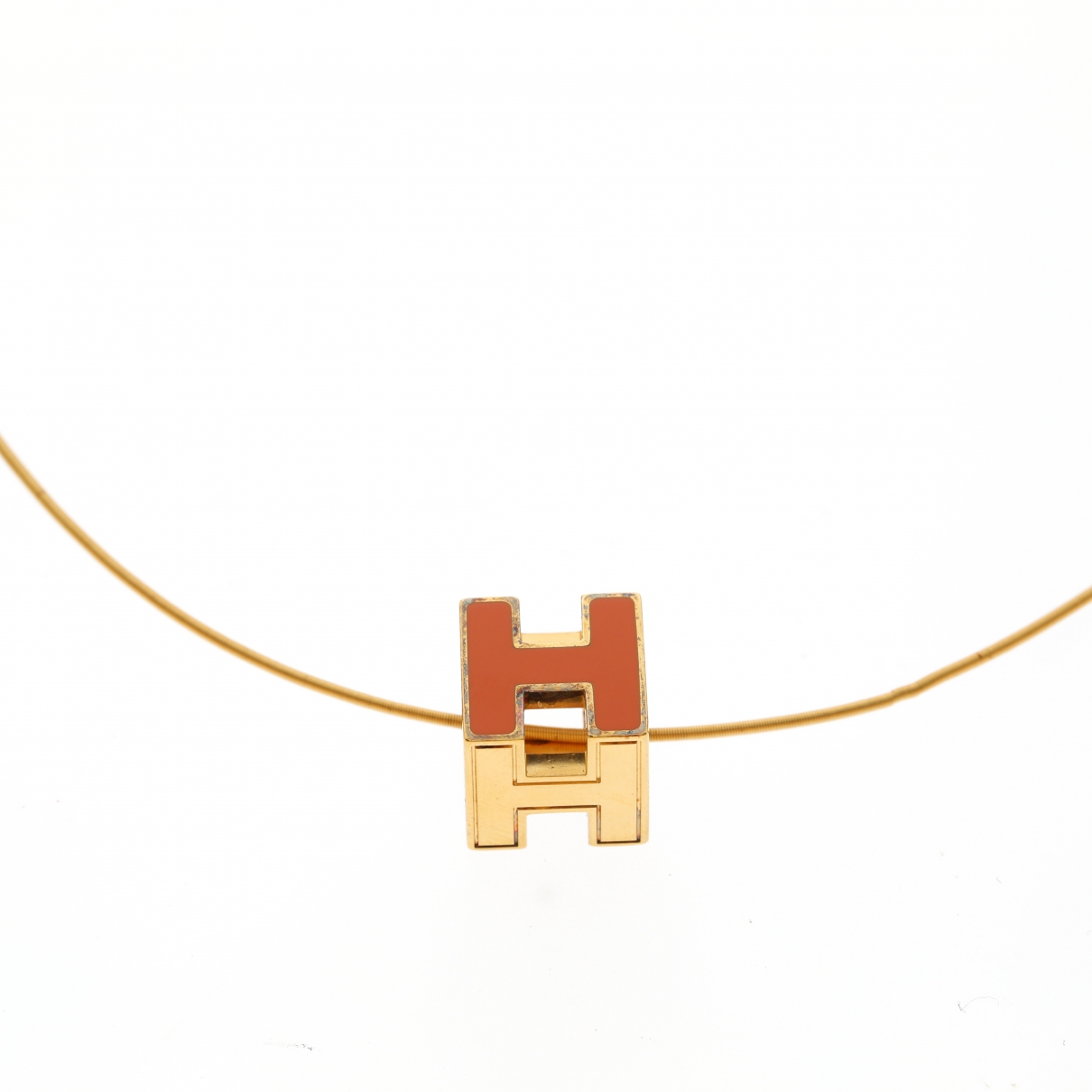 Hermes - Collier Cage dH pour femme en metal - orange