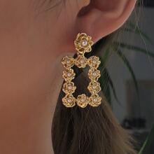 Faux Pearl Geometric Drop Earrings