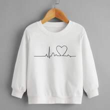 Toddler Girls Heart Print Sweatshirt