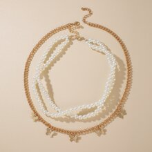 2pcs Butterfly & Faux Pearl Beaded Necklace