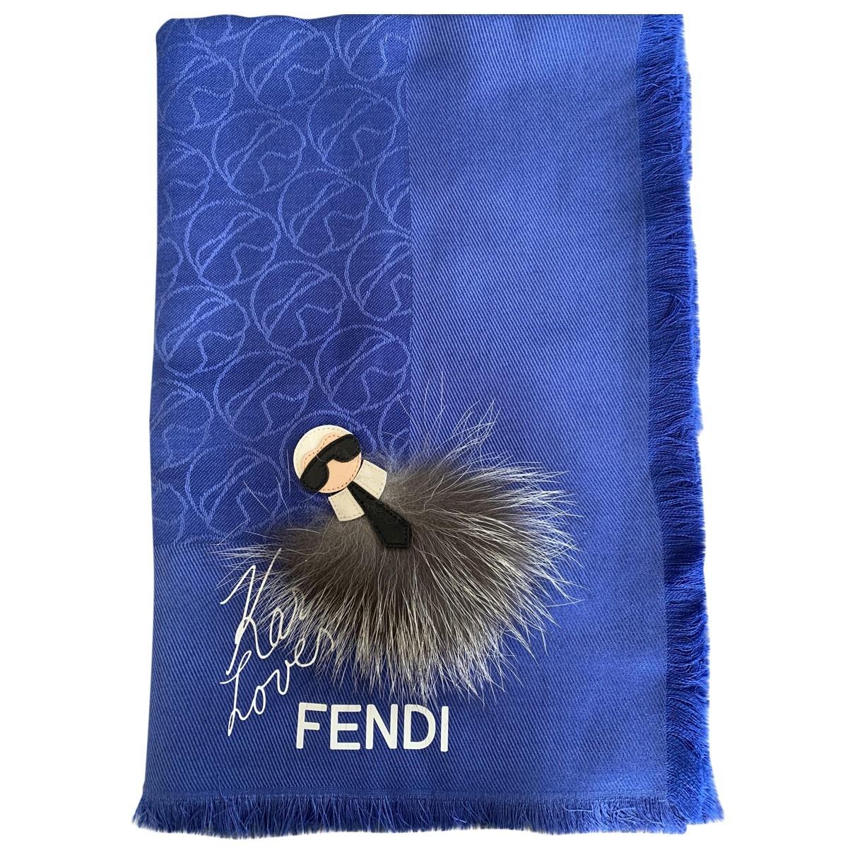 Fendi - Foulard   pour femme en laine - bleu