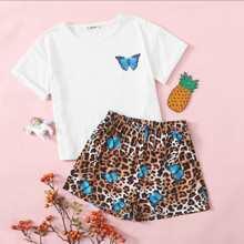 Girls Butterfly Print Top & Leopard Shorts PJ Set