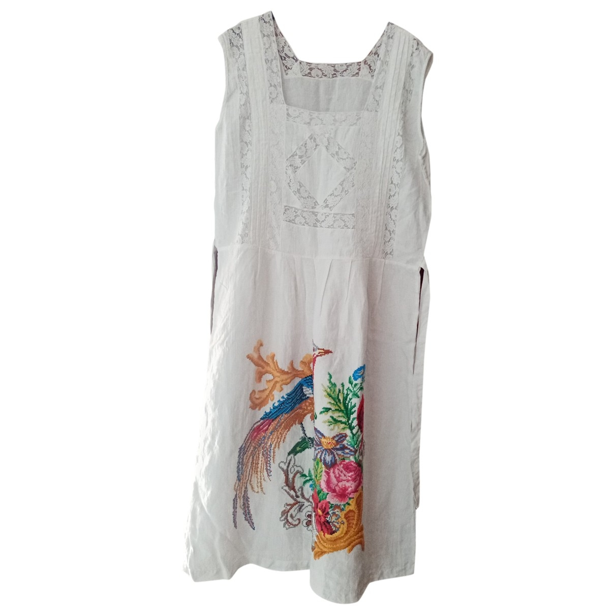Non Signé / Unsigned \N White Linen dress for Women 48 IT
