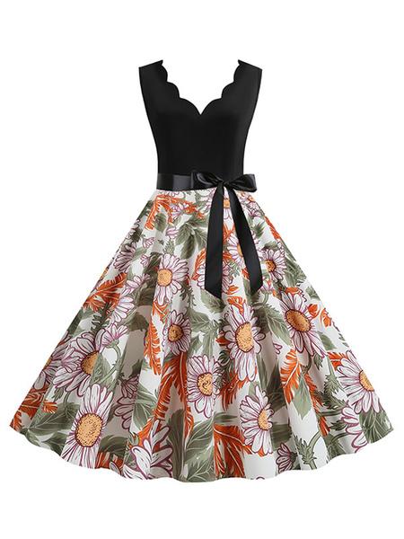 Milanoo Vestido de verano de girasol Vestido sin mangas con cuello en V sin mangas con estampado floral negro de los años 50