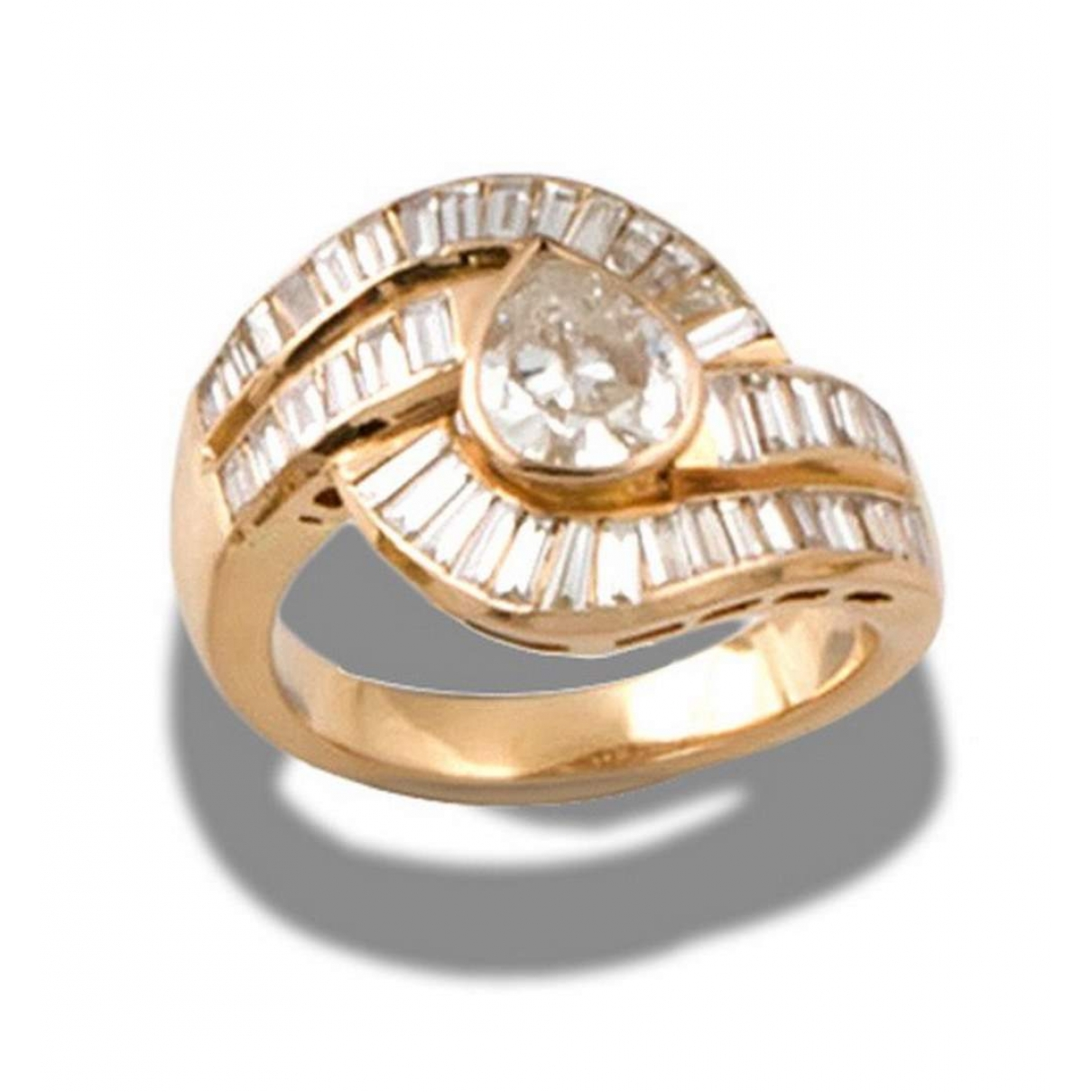Non Signe / Unsigned Bagues Cocktails Ring in  Gelb Gelbgold