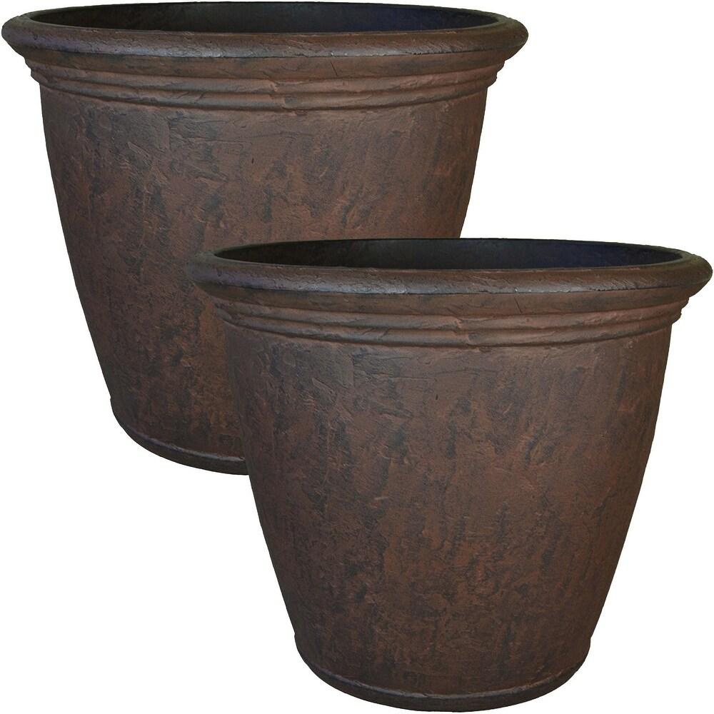 Sunnydaze Anjelica Outdoor Double-Walled Flower Pot Planter - Rust - 16
