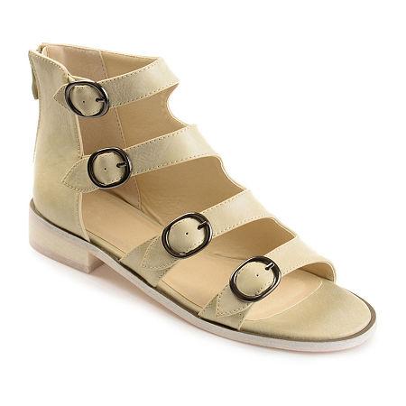 Journee Collection Womens Oakly Flat Sandal, 8 Medium, Beige