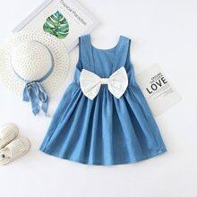 Blau  Schleifen  Colorblocks Suess Kleinkind Maedchen Kleider