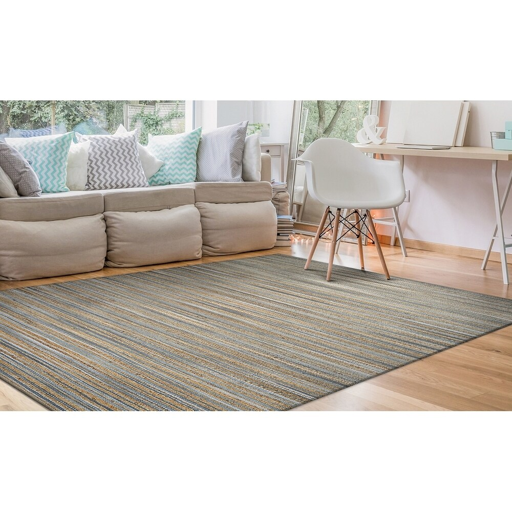 Hand-Loomed Green Leaves Cottage Area Rug (Brown/Taupe 4' x 6')