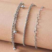 3pcs Bead & Heart Decor Chain Anklet