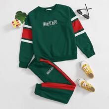 Pullover mit Buchstaben Grafik & Jogginghose mit Kontrast und seitlicher Naht Set
